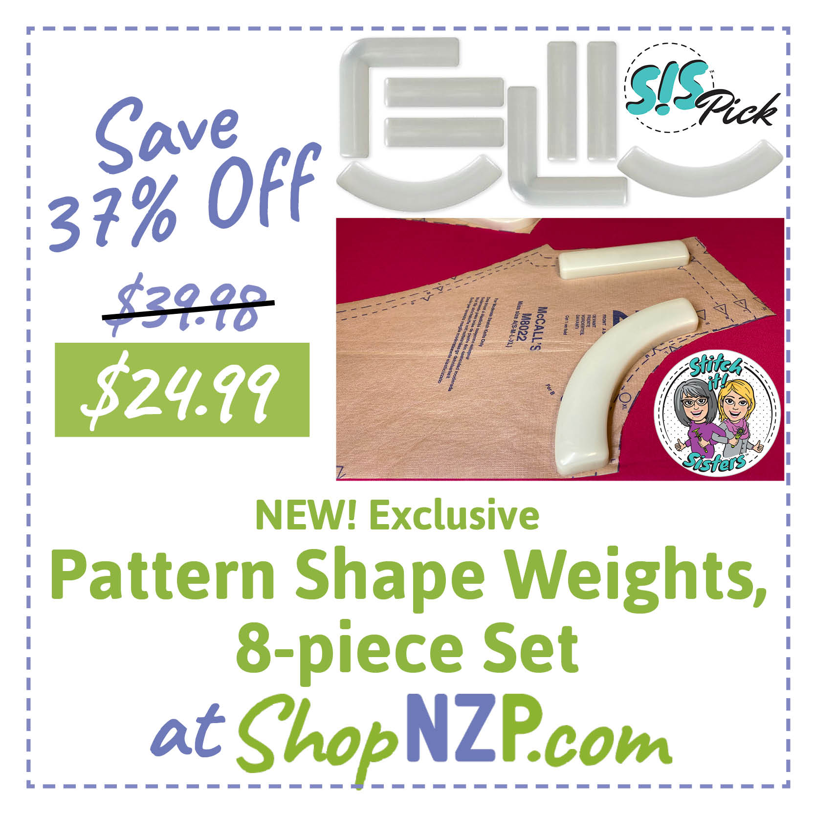 Save 37 Percent Off Pattern Shape Weights 8 piece Set at ShopNZP