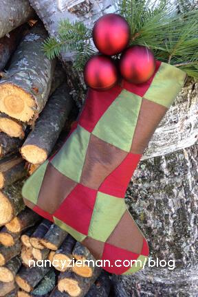 Stocking Sewing Challenge Inspiration Pattern by Nancy Zieman | Pellon | Silk Christmas Stocking