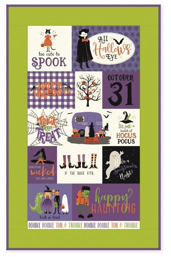 NEW! Hocus Pocus Fabric Panel Purple available at ShopNZP.com--add fabric borders as you like!