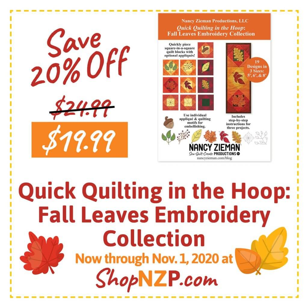 Sale at ShopNZP.com Save 20 Percent Off Quick Quilting in the Hoop Fall Leaves Embroidery Collection