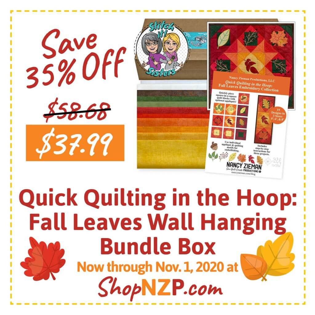 Sale at ShopNZP.com Save 35 Percent Off Quick Quilting in the Hoop Fall Leaves Wall Hanging Bundle Box