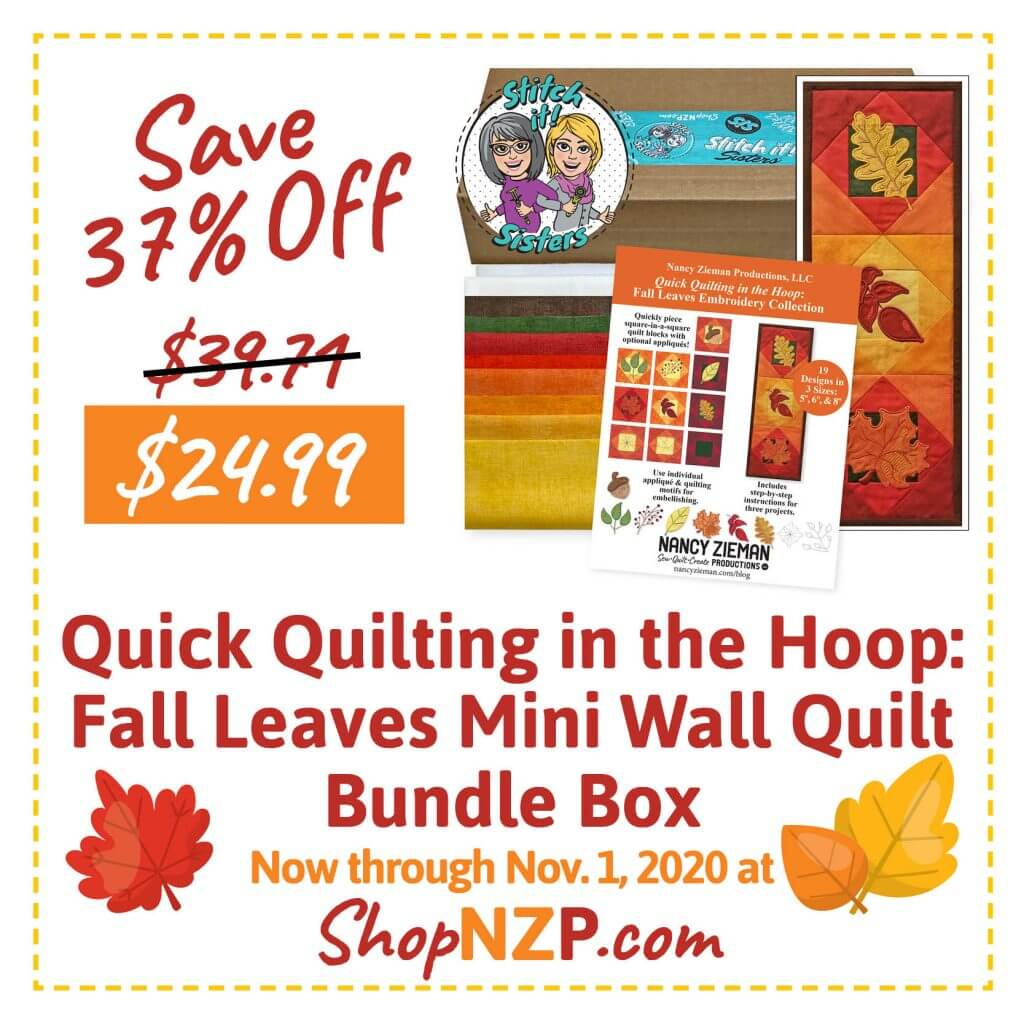Sale at ShopNZP.com Save 37 Percent Off Quick Quilting in the Hoop Fall Leaves Mini Wall Quilt Bundle Box
