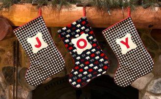 2020 Monogrammed Christmas Stocking Sewing Tutorial at The Nancy Zieman Productions Blog JOY Stockings