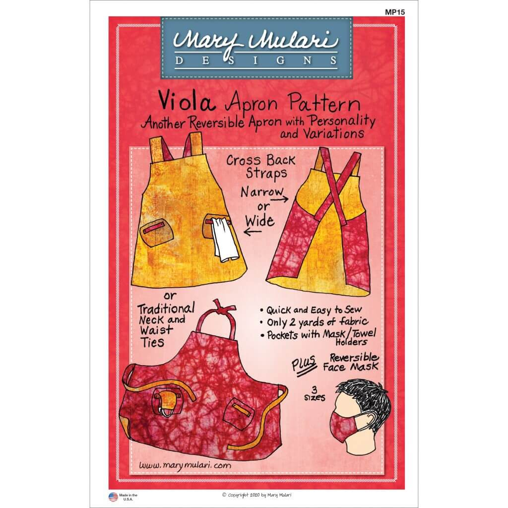 NEW! Viola Reversible Apron Pattern with bonus multi-sized Fabric Face Mask Pattern!