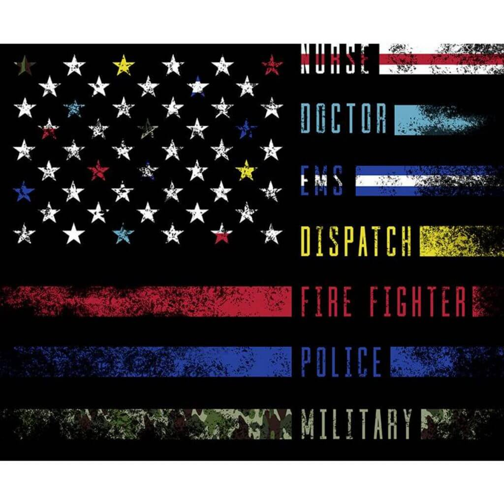 NEW! Nobody Fights Alone - First Responder Fabric Flag Panel by Riley Blake Designs are now available at ShopNZP.com