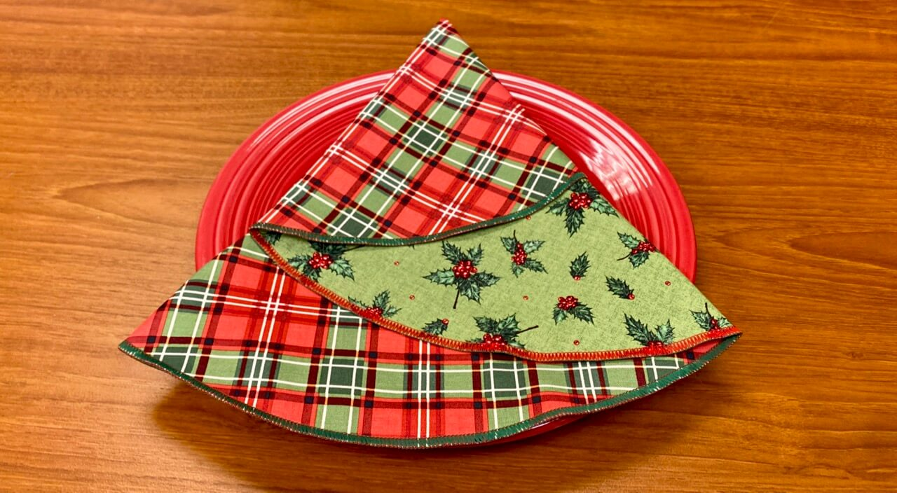 Christmas Tree Napkin Sewing Tutorial at The Nancy Zieman Productions Blog