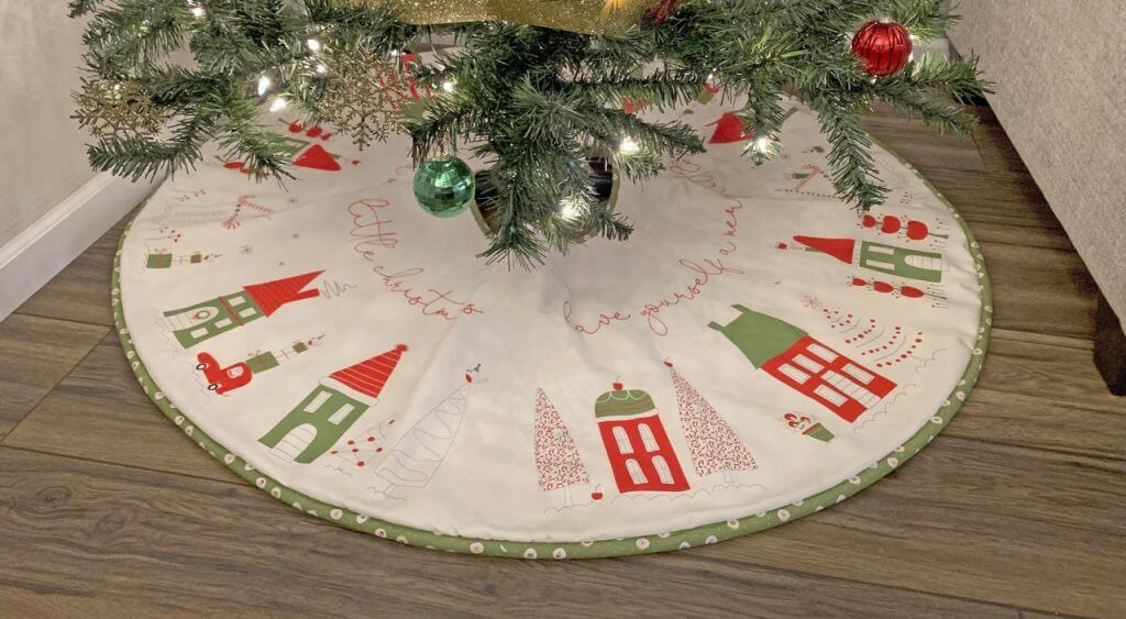Merry Little Christmas Tree Skirt by Sandy Gervais for Riley Blake Designs Christmas Tree Skirt Sewing Tutorial at The Nancy Zieman Productions Blog available at ShopNZP.com