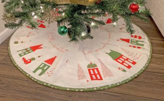 Merry Little Christmas Tree Skirt Cream by Sandy Gervais for Riley Blake Designs Christmas Tree Skirt Sewing Tutorial at The Nancy Zieman Productions Blog available at ShopNZP.com