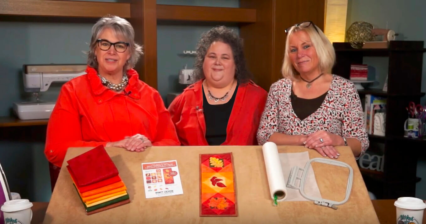 Deanna Springer, Denise Abel, and Dana Casey on the Set of Stitch it! Sisters Program 115 at the Nancy Zieman Productions