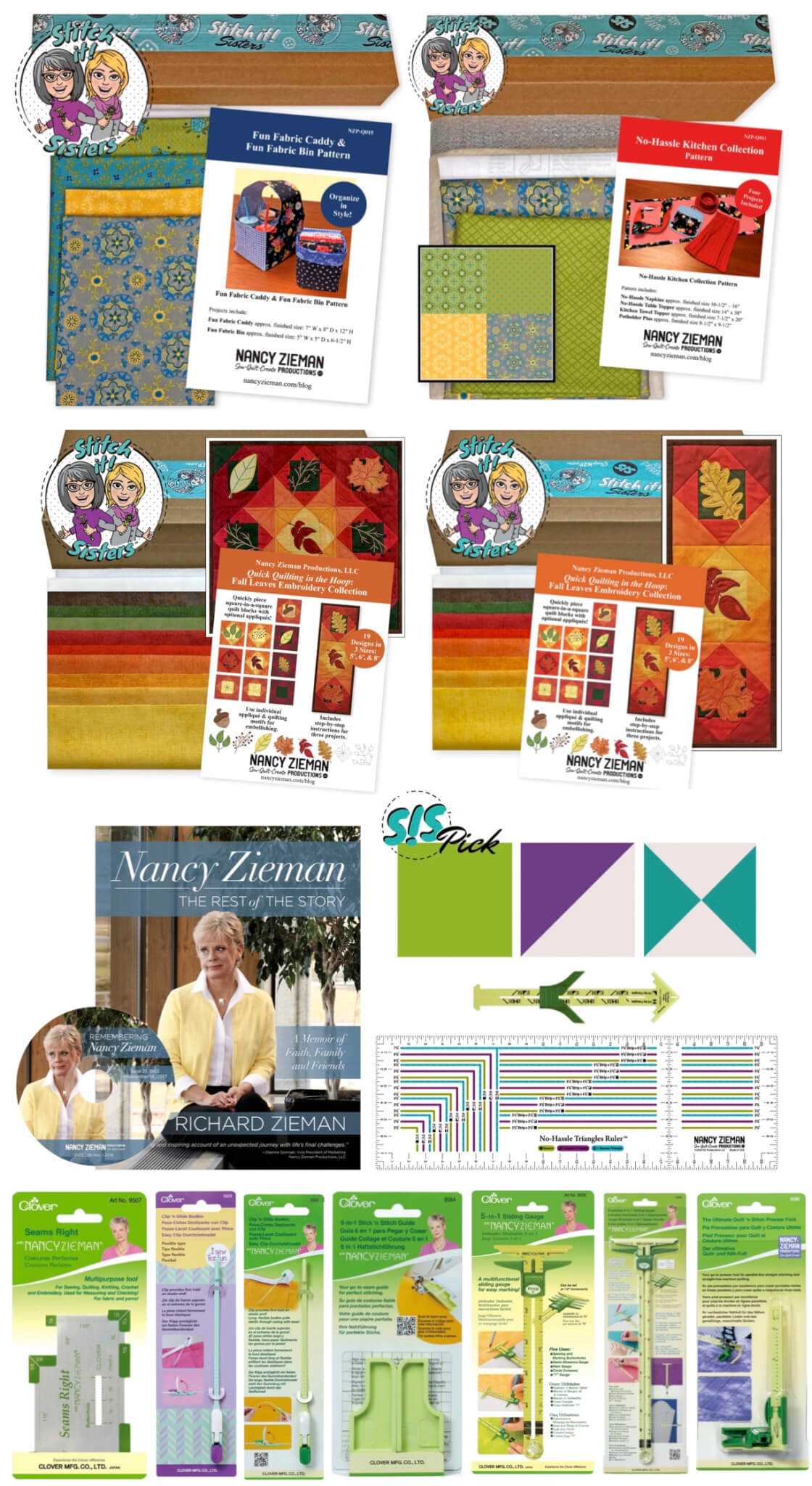 Find Nancy Zieman ProductionsTop 10 Sewing Tools, Patterns, Bundle Boxes, and more (above)atNancy Zieman Productions at ShopNZP.com!