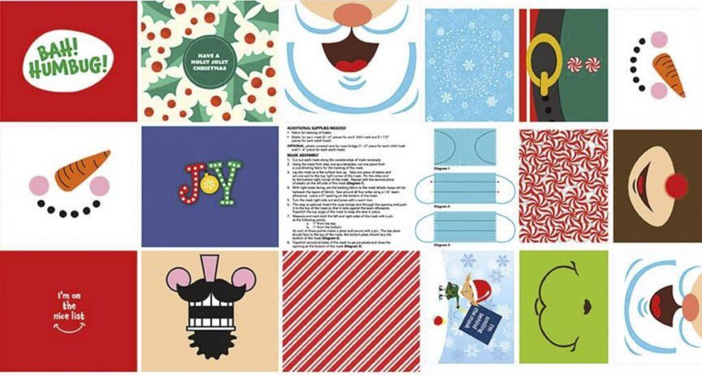 Christmas Face Mask Preprinted Fabric Panel for Sewing Masks available at Nancy Zieman Productions at ShopNZP.com