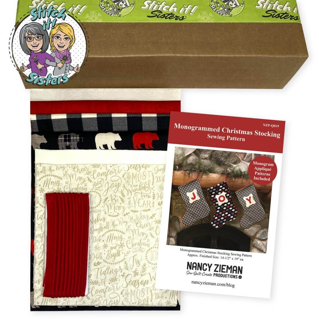 Monogrammed Christmas Stocking Sewing Pattern and Bundle Box available at Nancy Zieman Productions at ShopNZP.com