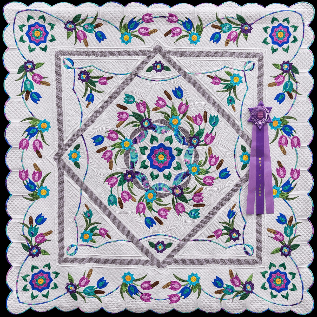 The Great Wisconsin Quilt Show 2020 Best of Show Award! Spring Breeze by Barbara Clem of Rockford IL. Quilted by Barbara Clem