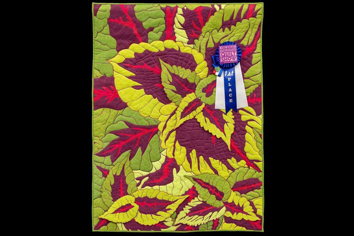 The Great Wisconsin Quilt Show 2020 Botanical Quilt Challenge first place winner Kong by Laurie Pighetti of Lakewood, WI. Quilted by Laurie Pighetti Winners at Quilt Show.com