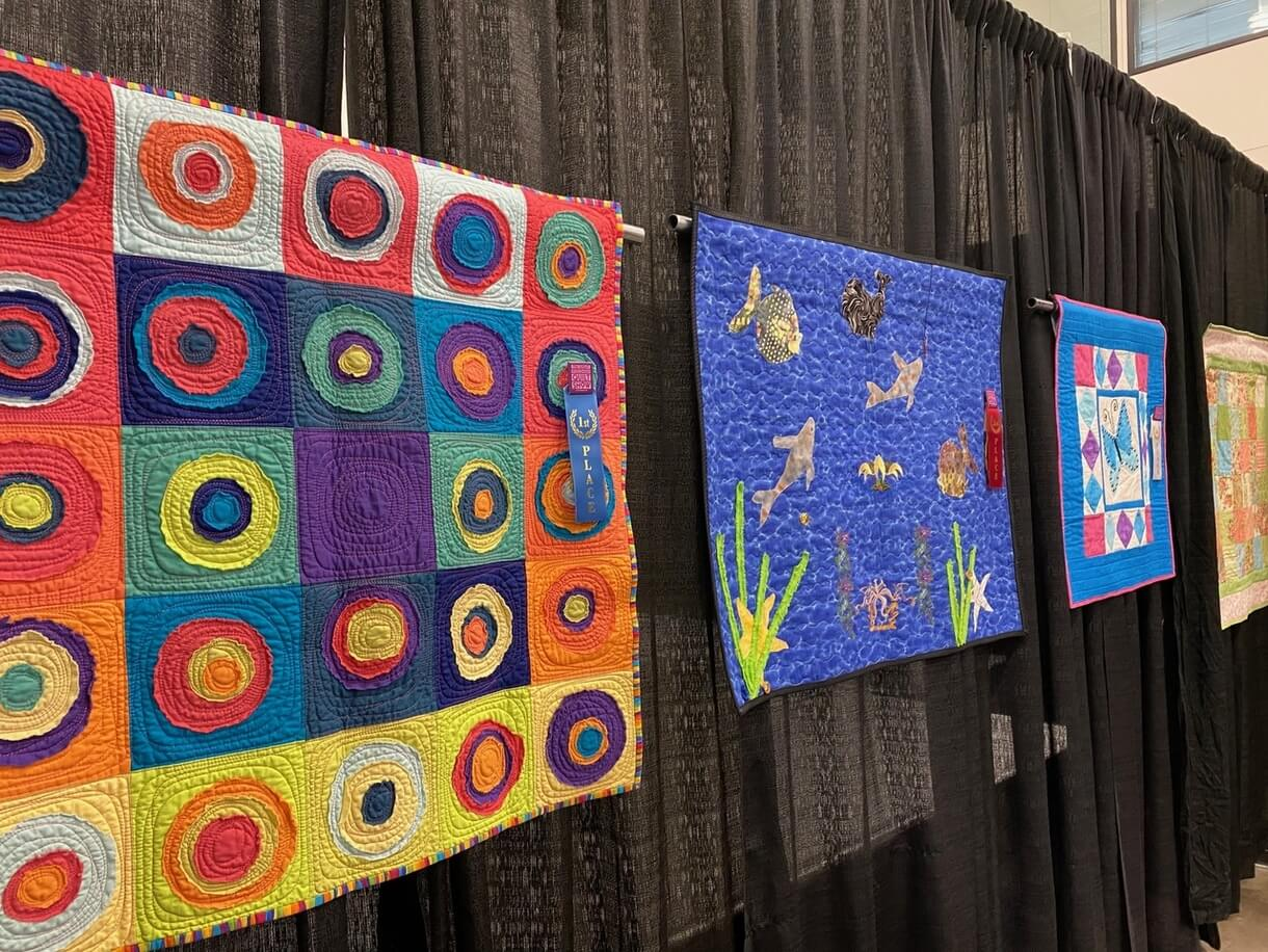 The Great Wisconsin Quilt Show 2020 Kids Quilting Challenge First Place Winner Rae's Kadinsky Quilt by Raewyn Gaffney of Freenville SC at Quilt Show.com