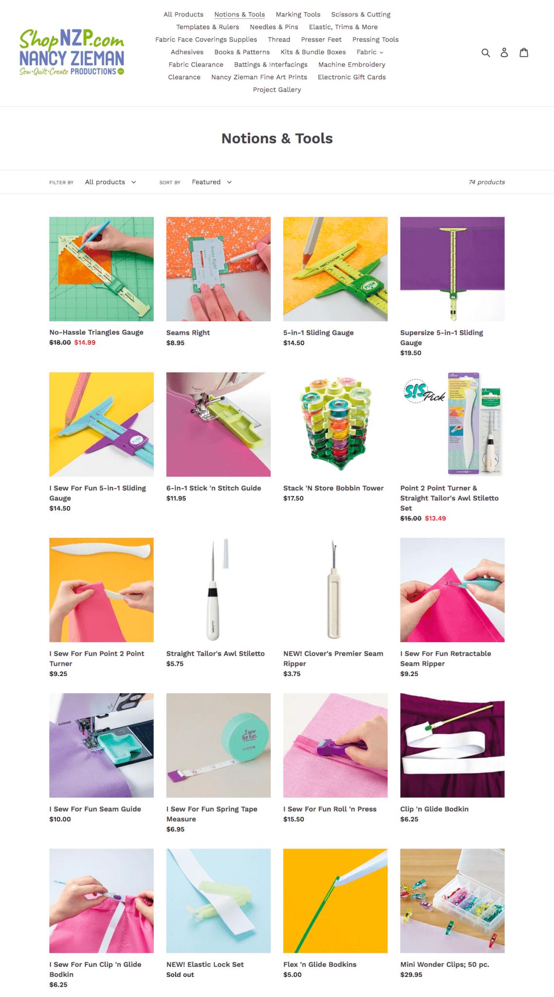 Visit ShopNZP.com to Purchase Nancy Zieman's Timesaving Sewing Notions