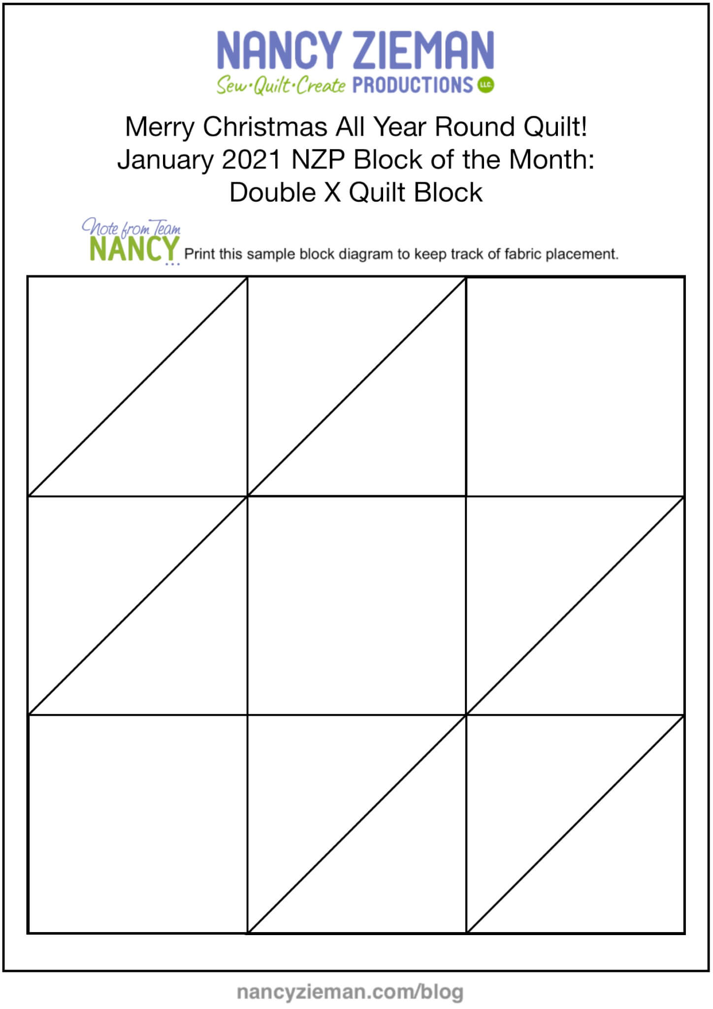 Merry Christmas All Year Round Quilt! January 2021 Block of the Month Double X Quilt Block PDF