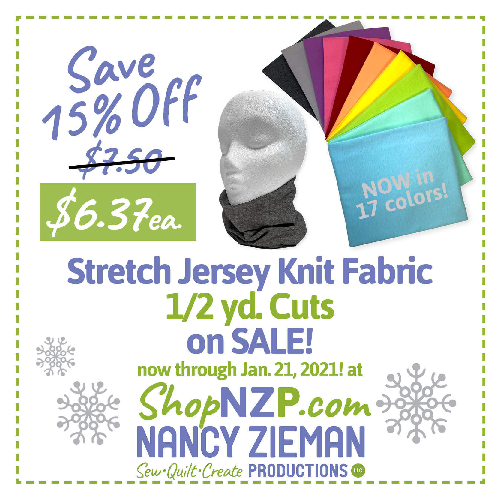 Knit Fabric Sale at Nancy Zieman Productions at ShopNZP.com Save 16 Percent Off NEW! Stretch Jersey Knit Fabric Packs