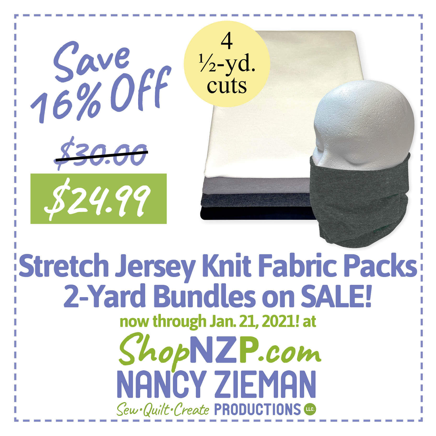 Knit Fabric Sale at Nancy Zieman Productions at ShopNZP.com Save up to 16 Percent Off NEW! Stretch Jersey Knit Fabrics