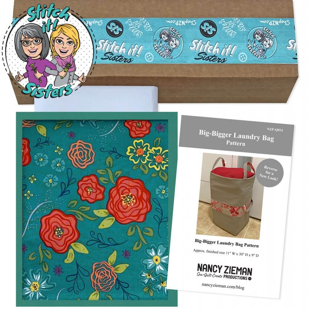 Teal Wildflower Boutique Big-Bigger Laundry Bag Bundle Box available at Nancy Zieman Productions at ShopNZP.com