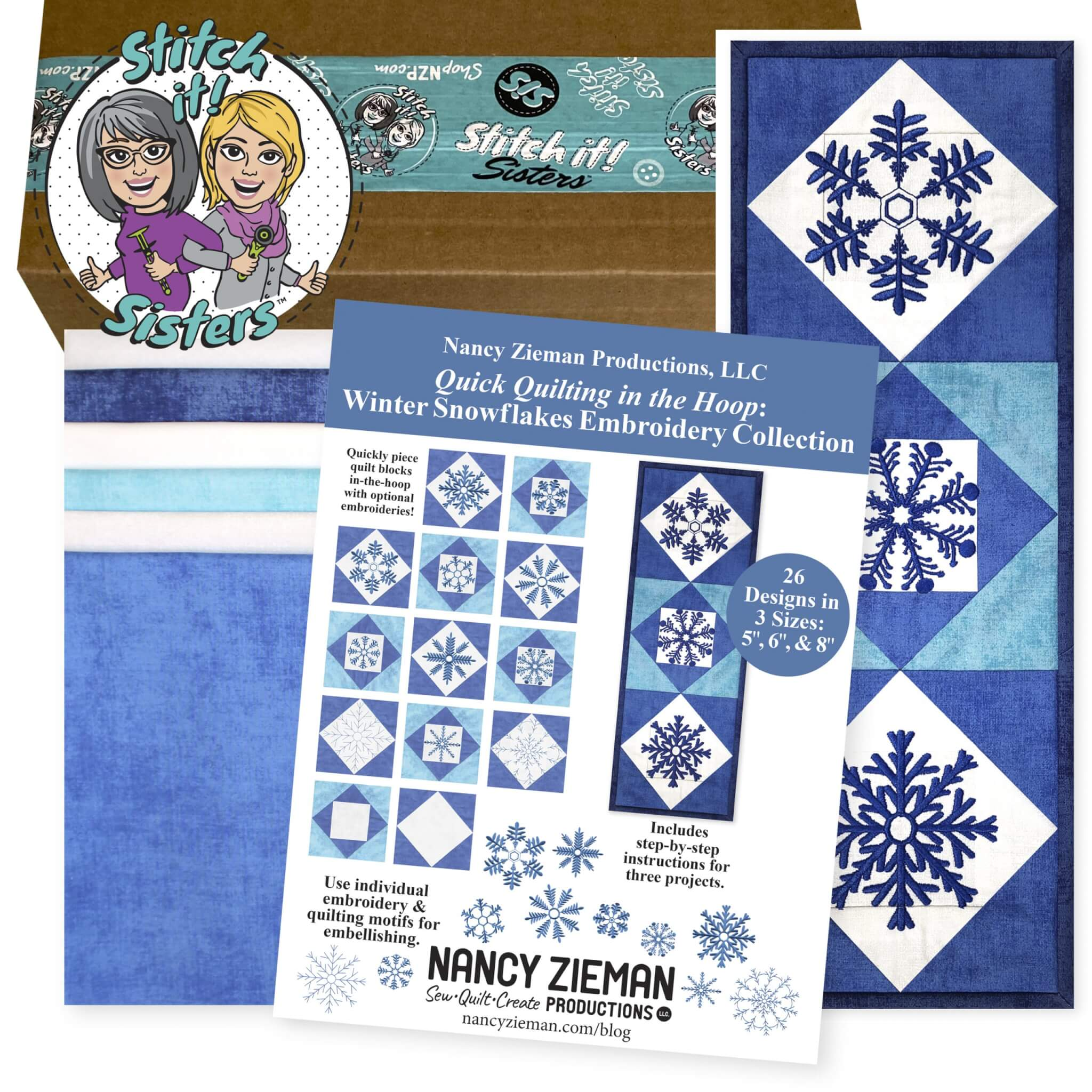 Quick Quilting in the Hoop: Winter Snowflakes Mini Wall Quilt Bundle Box at ShopNZP.com