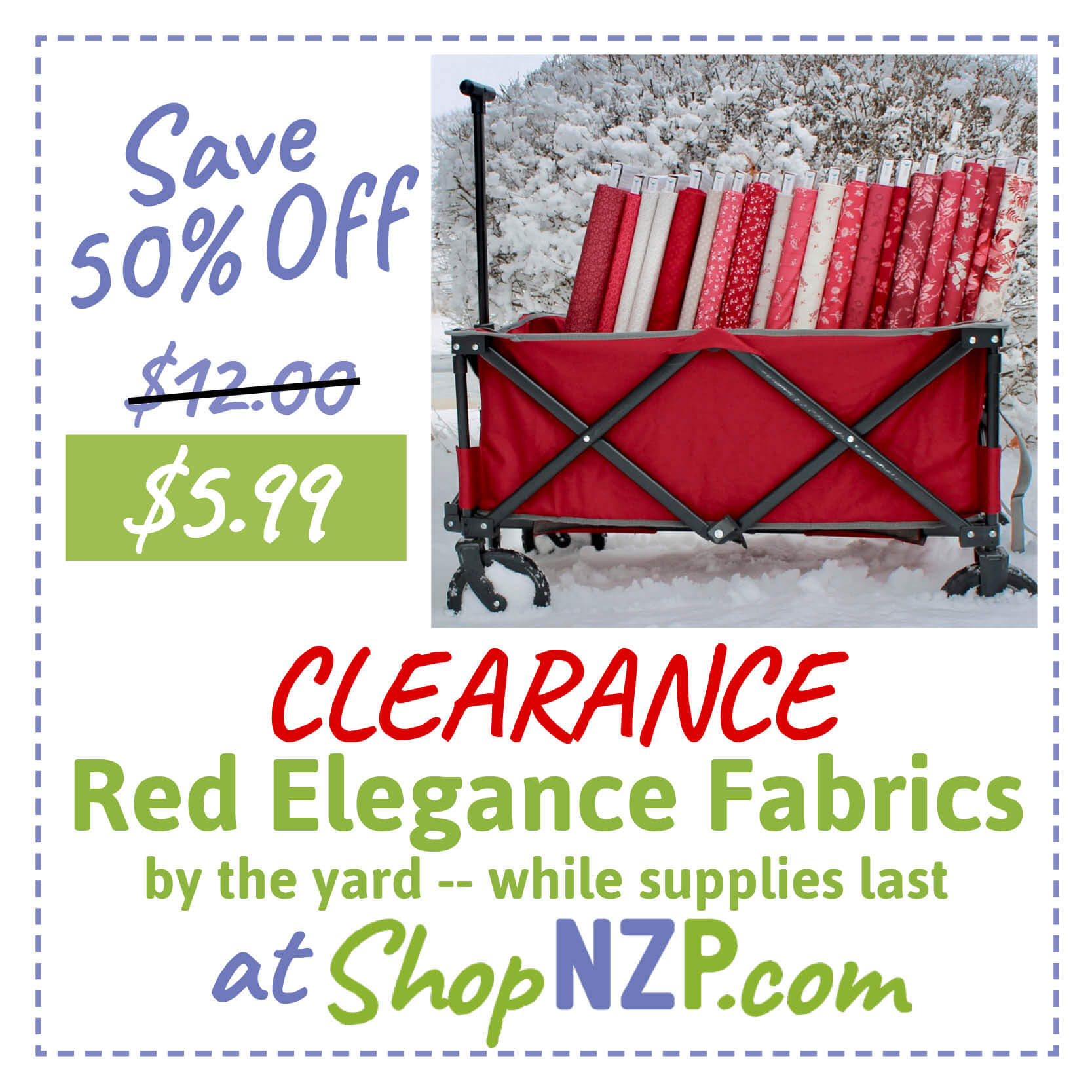 Save 50 Percent Off Red Elegance Fabric By the Yard at Nancy Zieman Productions at ShopNZP