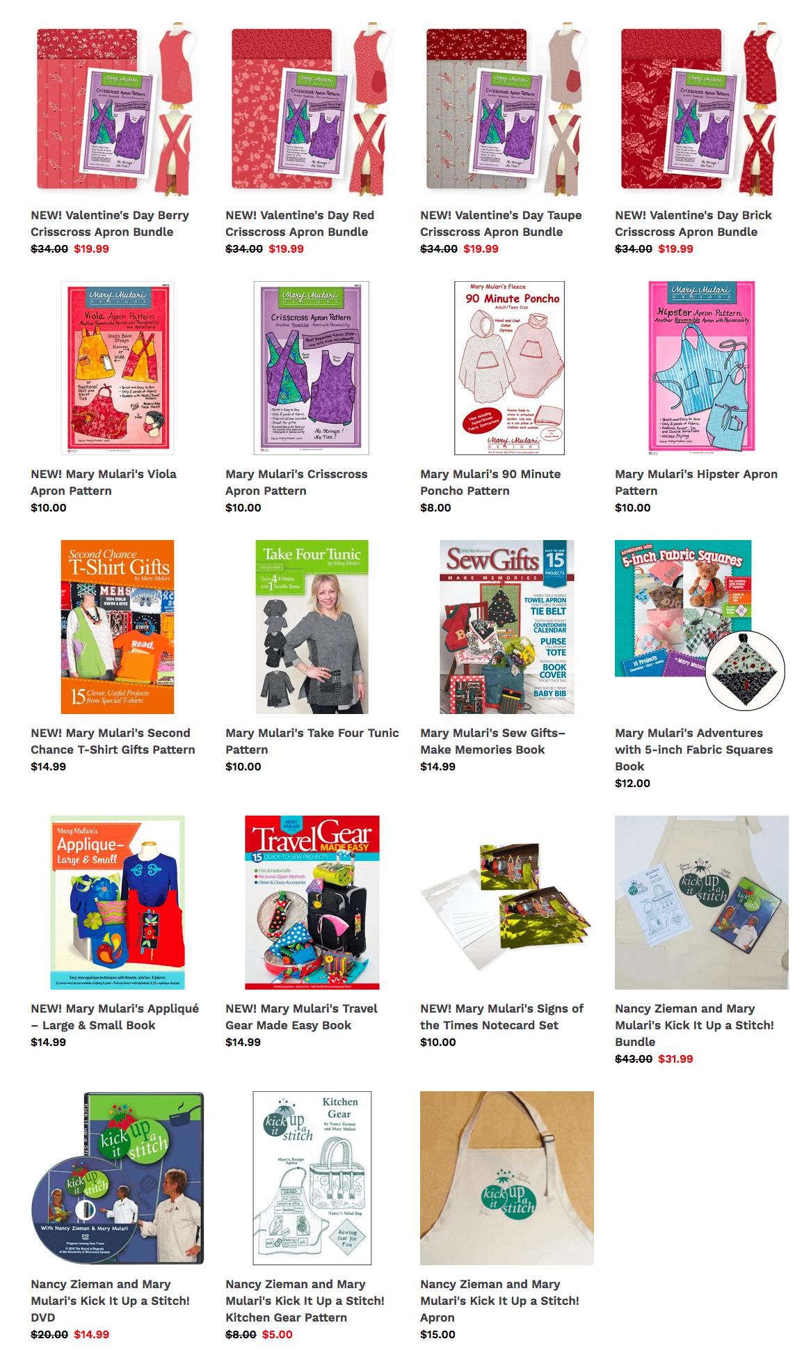 Shop Mary Mulari Patterns, Apron Sewing Kits, and Books at Nancy Zieman Productions at ShopNZP.com