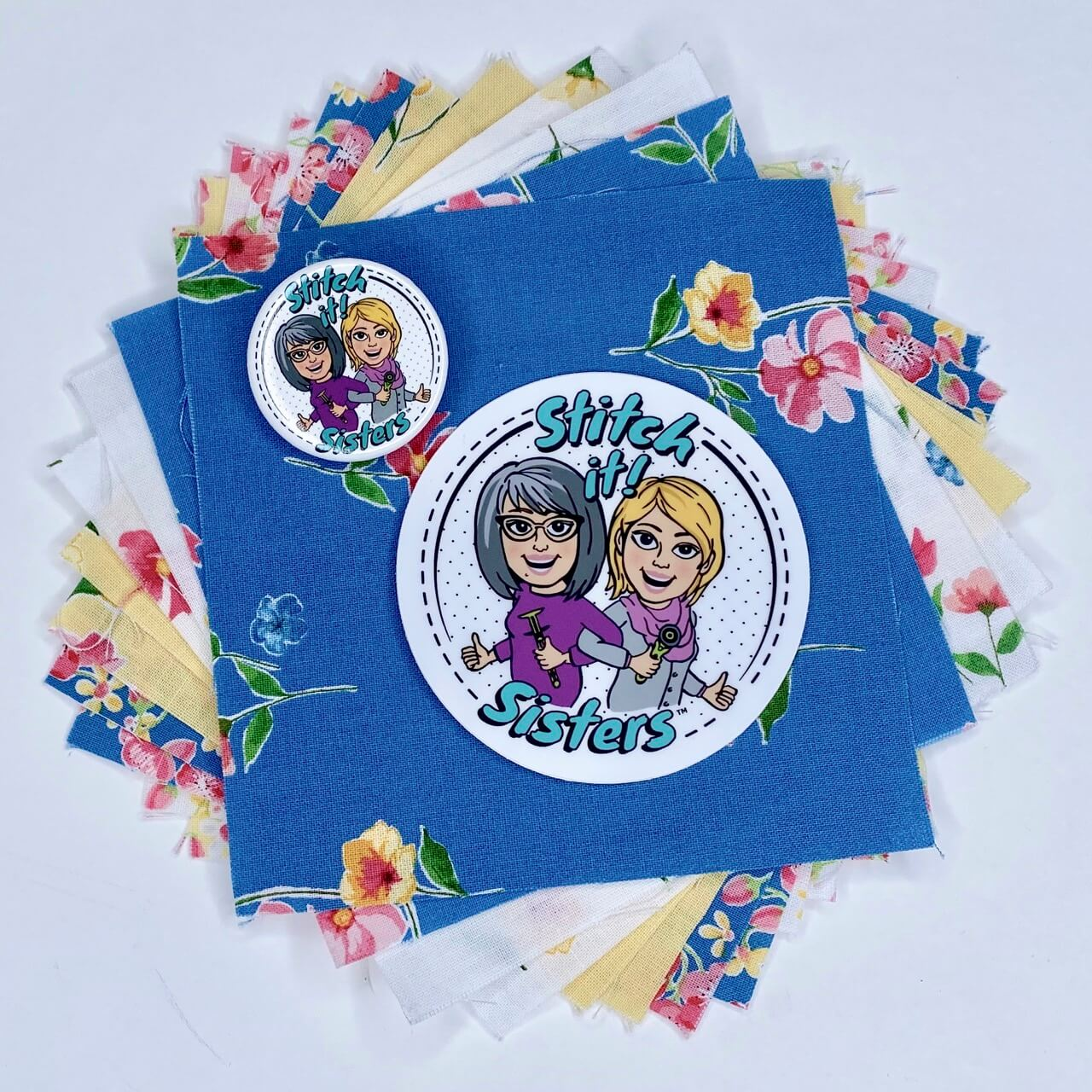 Stitch it Sisters 5 inch Fabric Short Stack with S!S Button and Sticker Giveaway at The Nancy Zieman Productions Blog