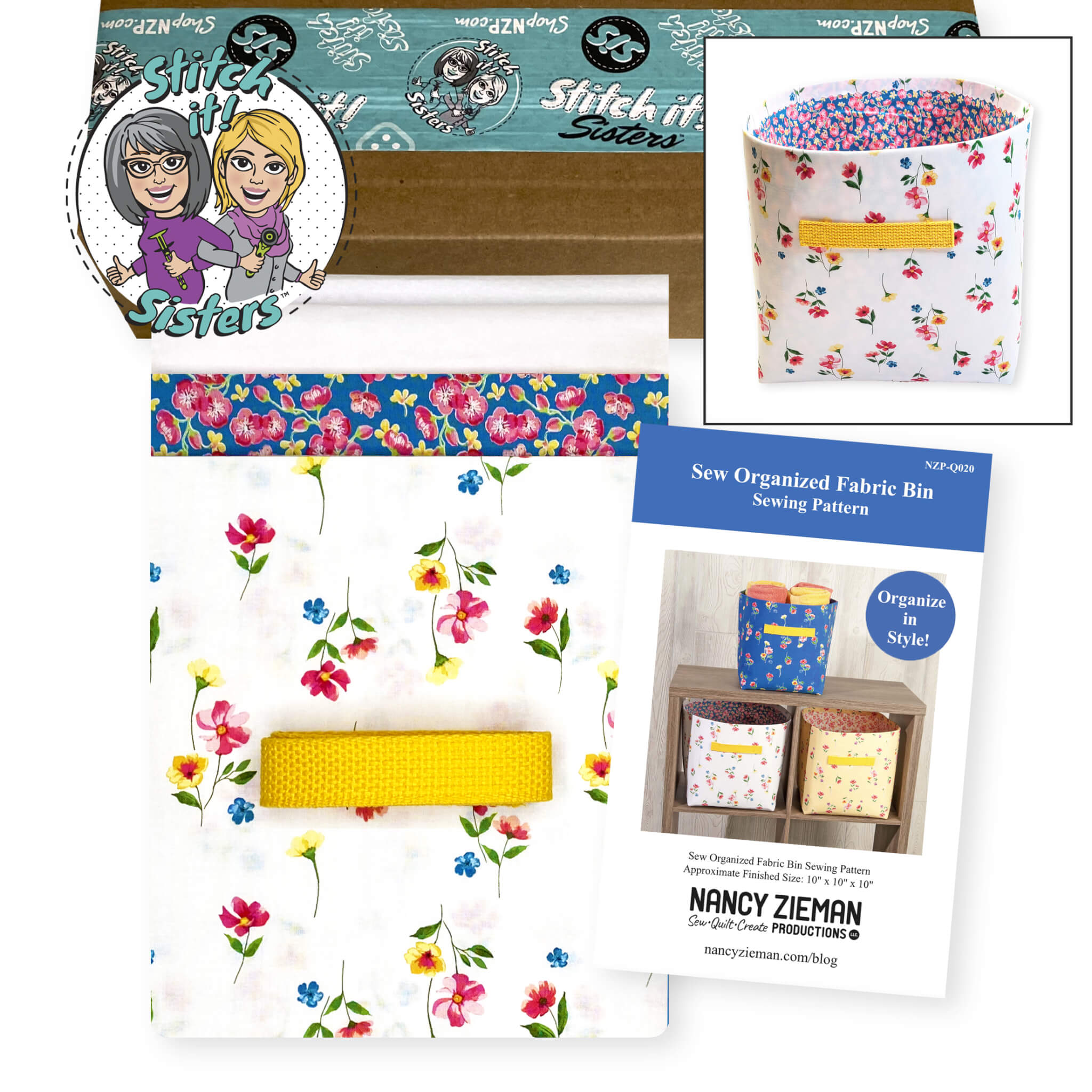 NZP-Q021_02 Sew Organized Fabric Bin Sewing Pattern available at Nancy Zieman Productions at ShopNZP.com