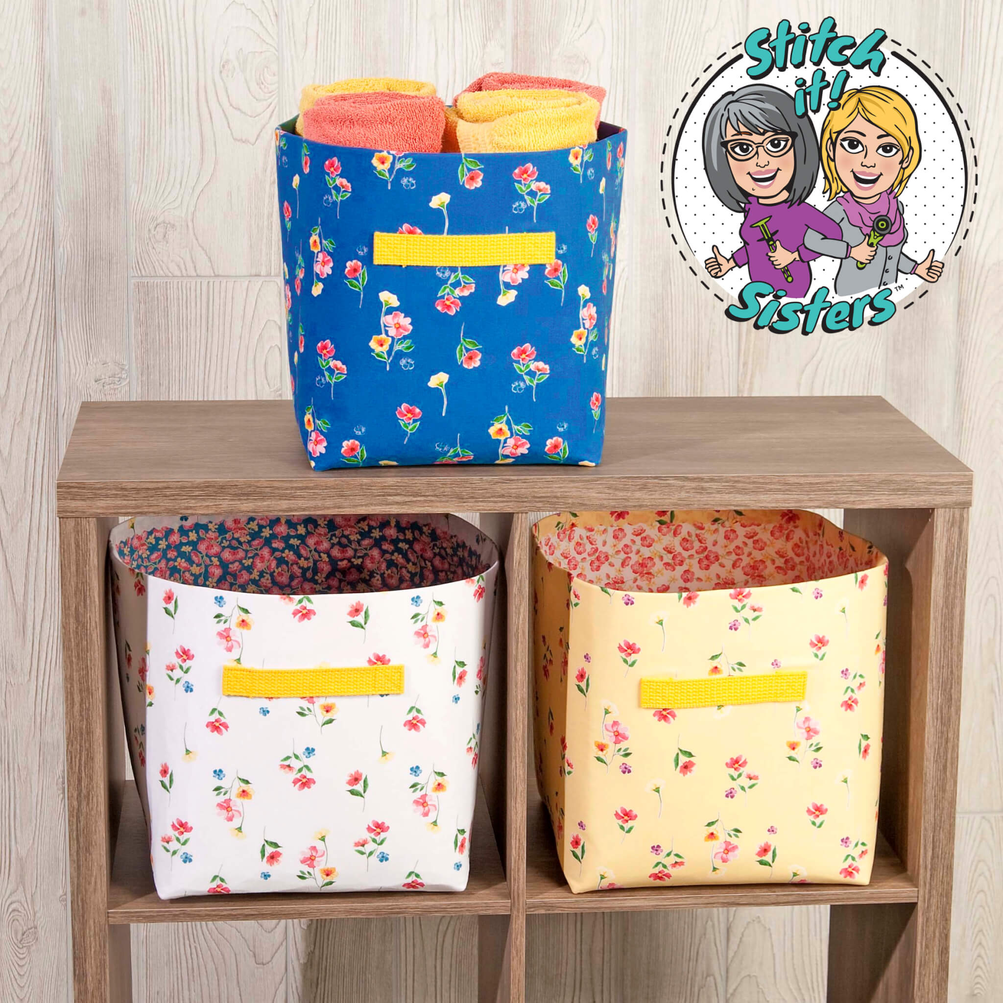 NEW! Stitch it! Sisters Sew Organized Fabric Bins Sewing Tutorial at the Nancy Zieman Productions Blog