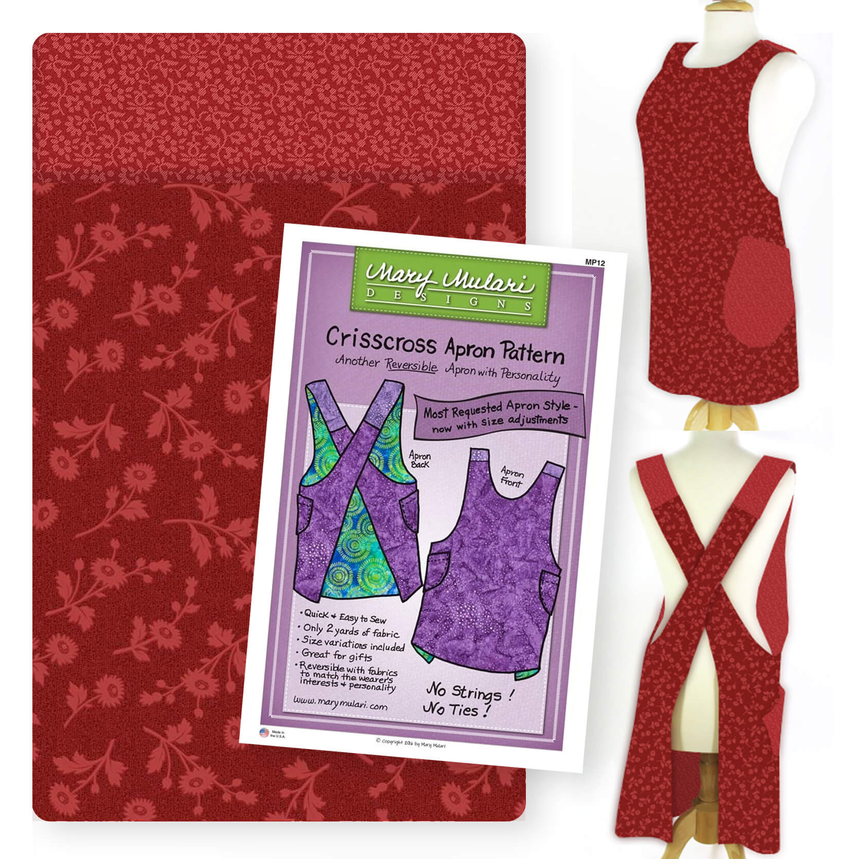 VDBRRCAB Valentines Day Brick Red Crisscross Apron Bundle available at Nancy Zieman Productions at ShopNZP.com