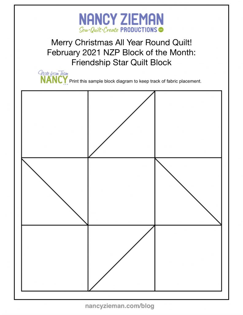 2021 Block of the Month merry Christmas All Year Round February Friendship Star Quilt Block