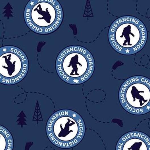 Face Mask Sasquatch Navy Fabric by the Yard available at Nancy Zieman productions at ShopNZP.com