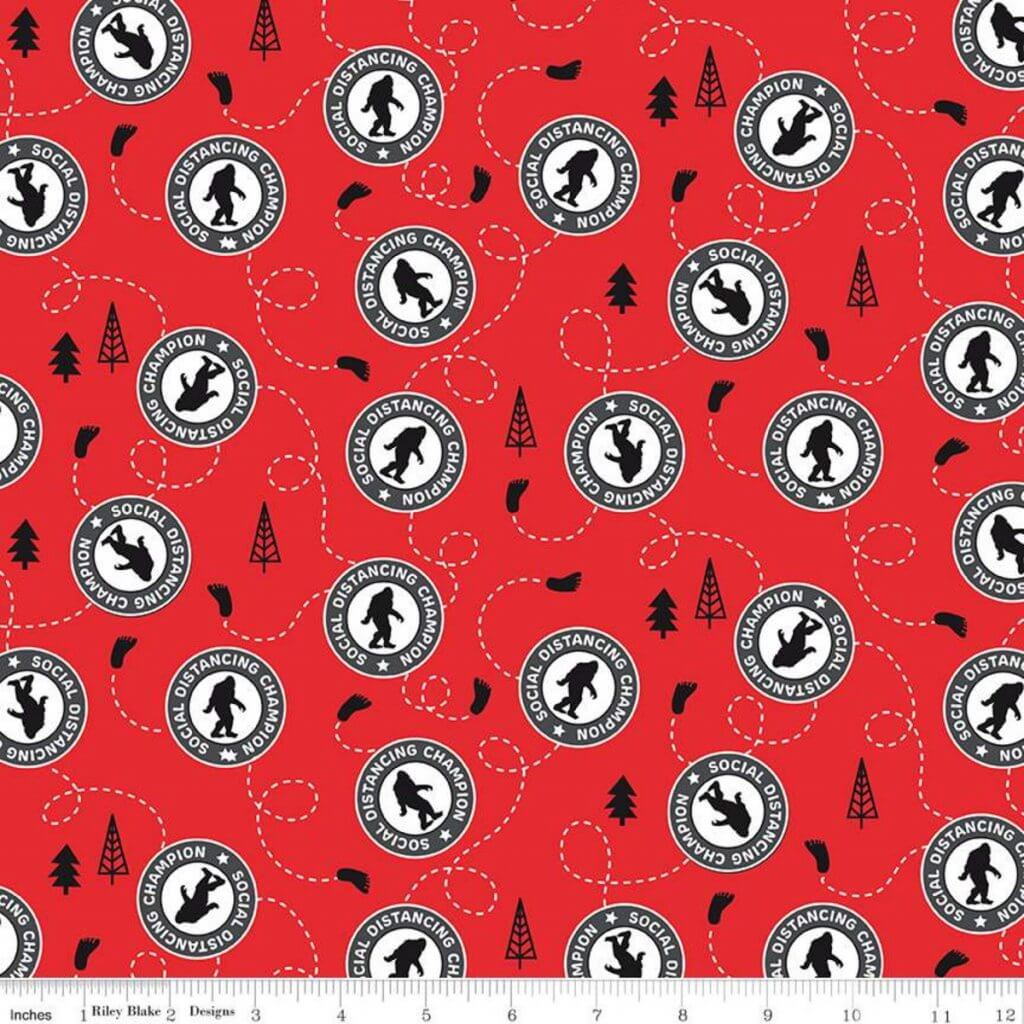 NEW Sasquatch Cotton Fabric by the Yard and Face Mask Template Now Available at Nancy Zieman Productions at ShopNZP.com