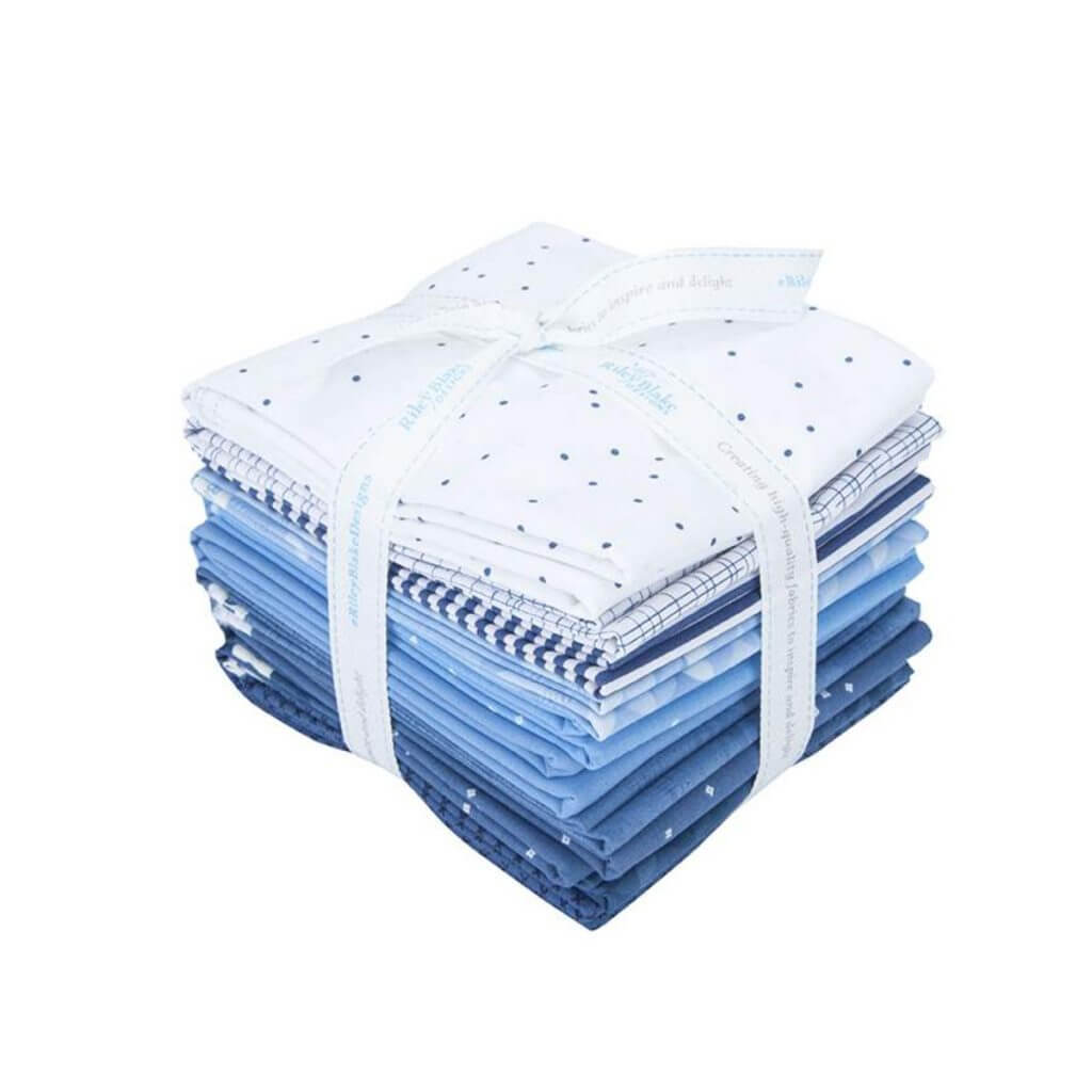 Half-Yard Cut Blue and White Fabric Bundle available at Nancy Zieman Productions at ShopNZP.com