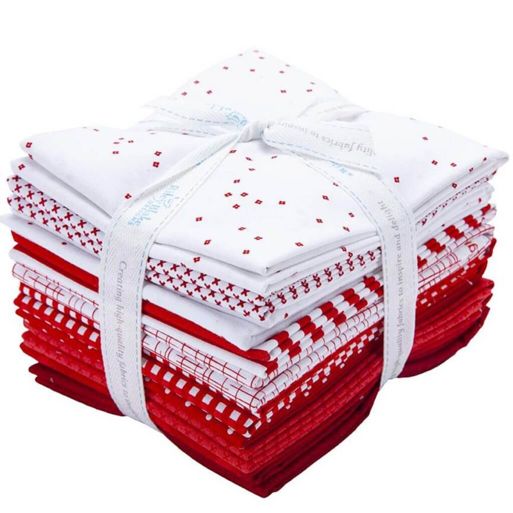 Half-Yard Cut Red and White Fabric Bundle available at Nancy Zieman Productions at ShopNZP.com
