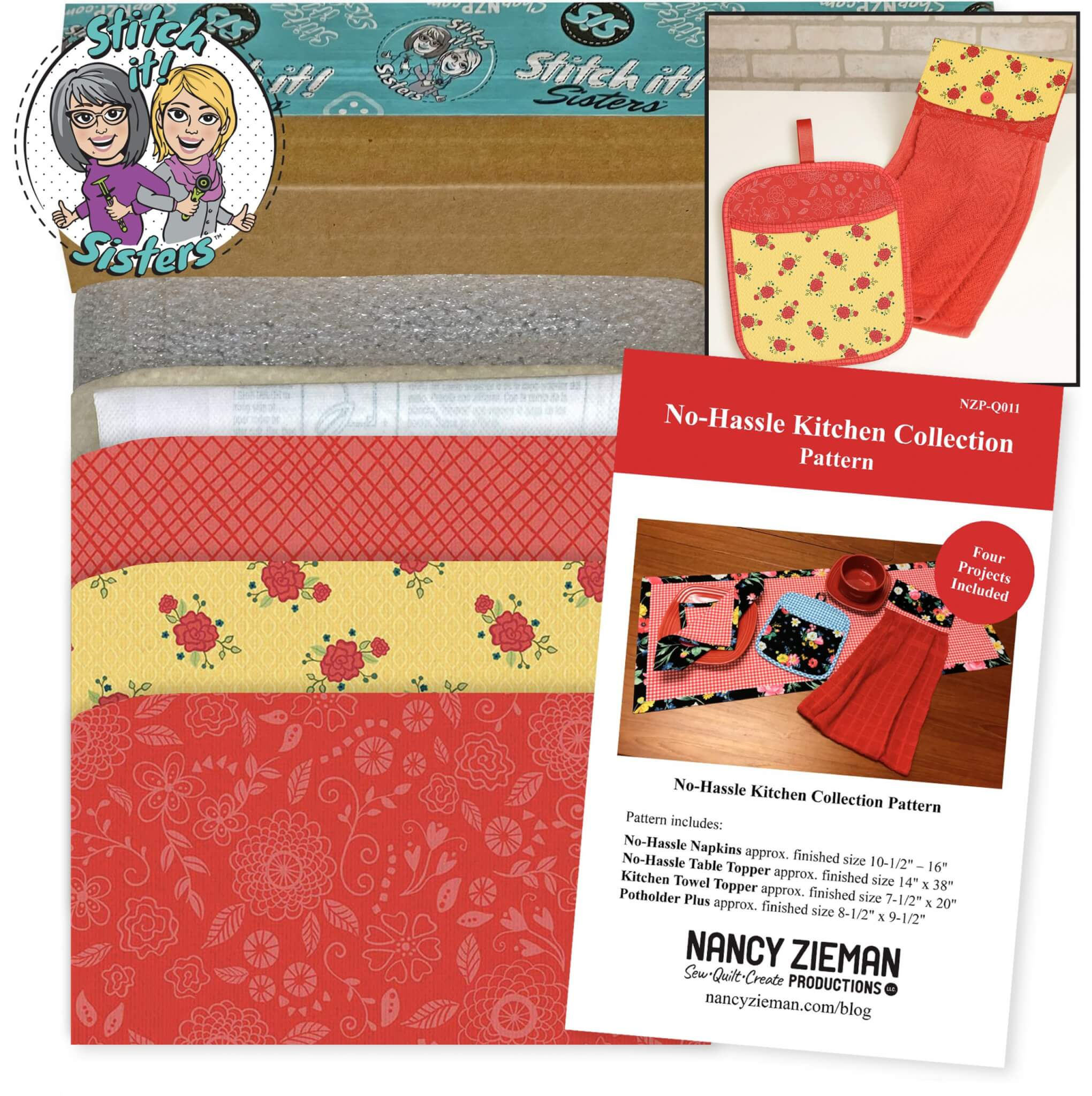 Red & Yellow Wildflower Boutique No-Hassle Potholder Plus and Towel Topper Bundle Box available at ShopNZP.com and Nancy Zieman Productions