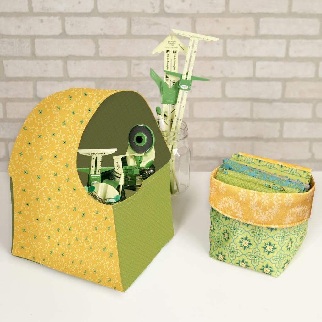 Green & Teal Wildflower Boutique Fun Fabric Caddy & Fun Fabric Bin Bundle Box available at Nancy Zieman Productions at ShopNZP.com