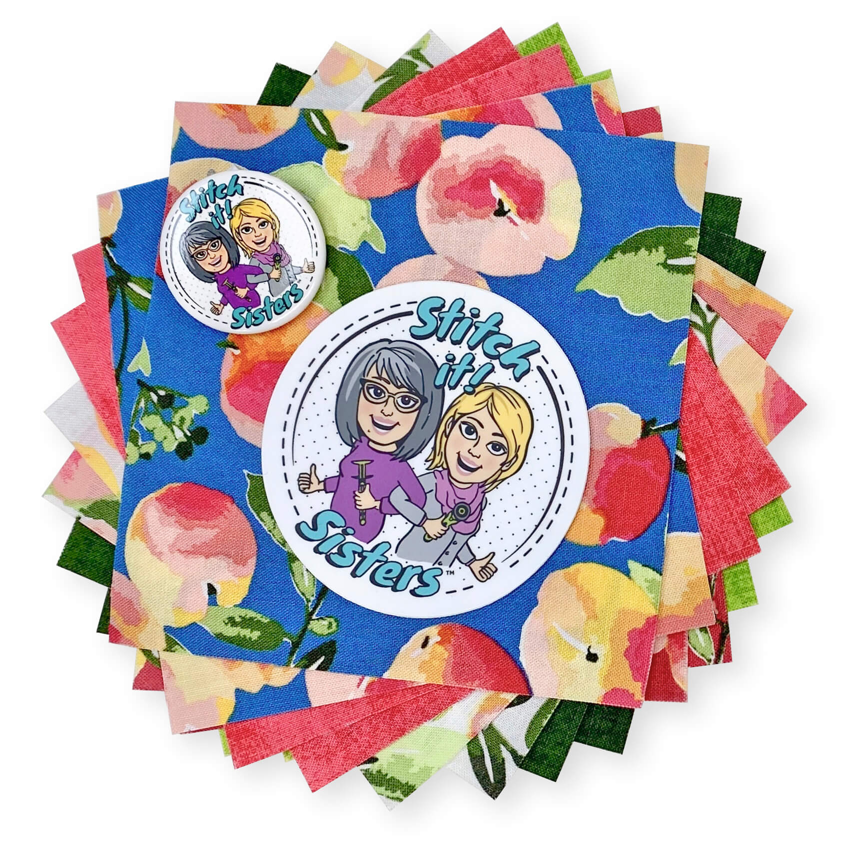 Stitch it Sisters 5 inch Fabric Short Stack with S!S Button and Sticker Giveaway at The NZP Nancy Zieman Productions Blog