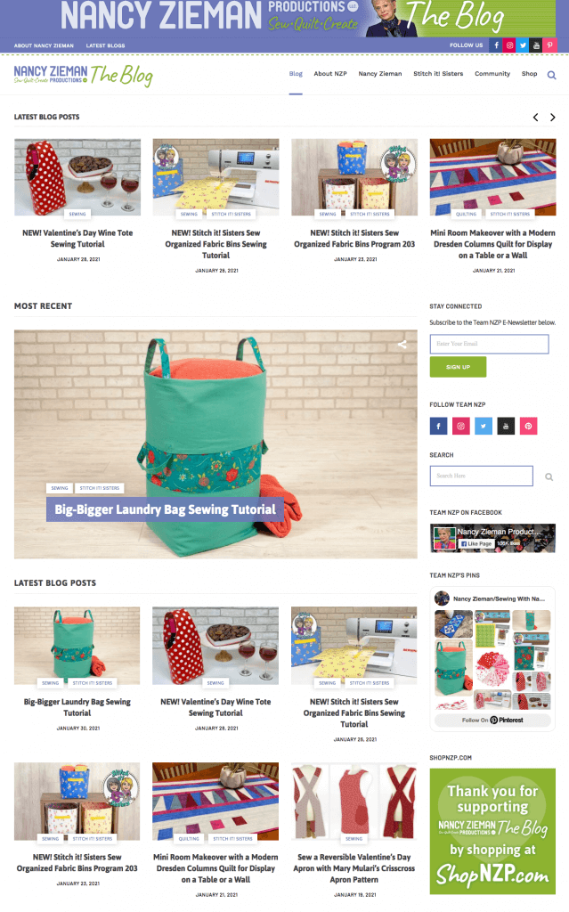 Find Free Sewing Tutorials at The Nancy Zieman Productions Blog at NancyZieman.com/blog