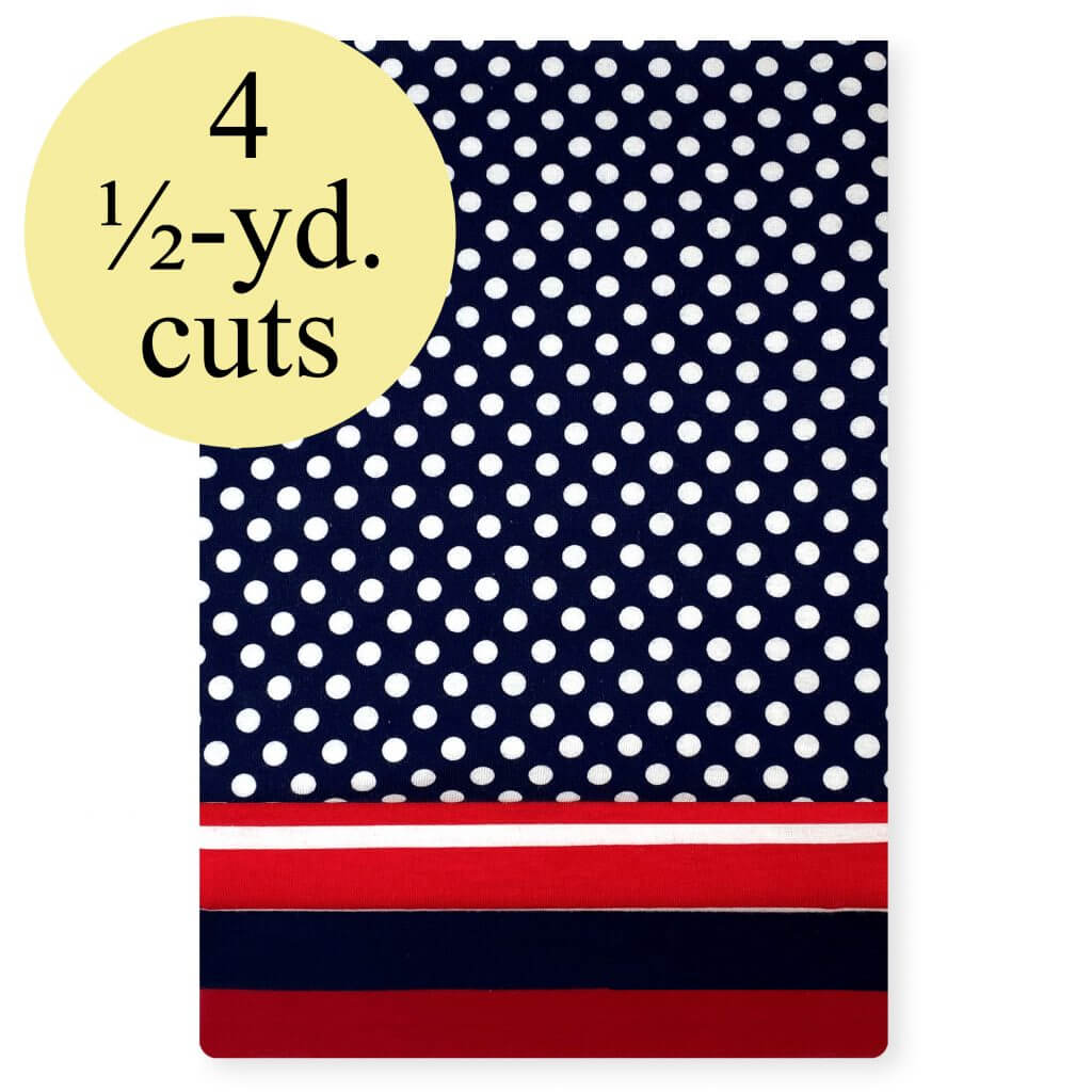 Patriotic Stretch Jersey Knit Fabric Pack- 2 Yard Pack available at Nancy Zieman Productions at ShopNZP.com