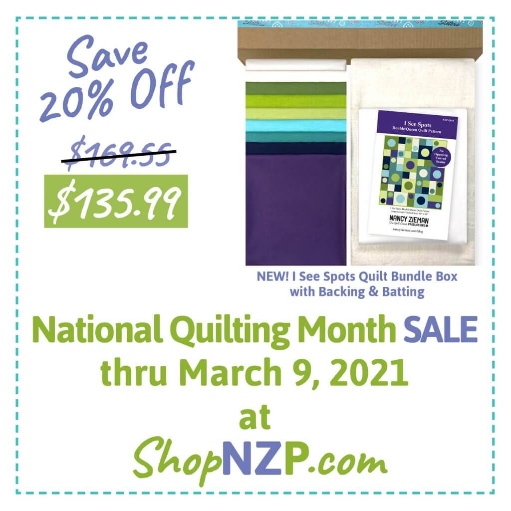 Save 20% Off I See Spots Quilt Bundle Box with Backing & Batting at ShopNZP.com thru March 9, 2021