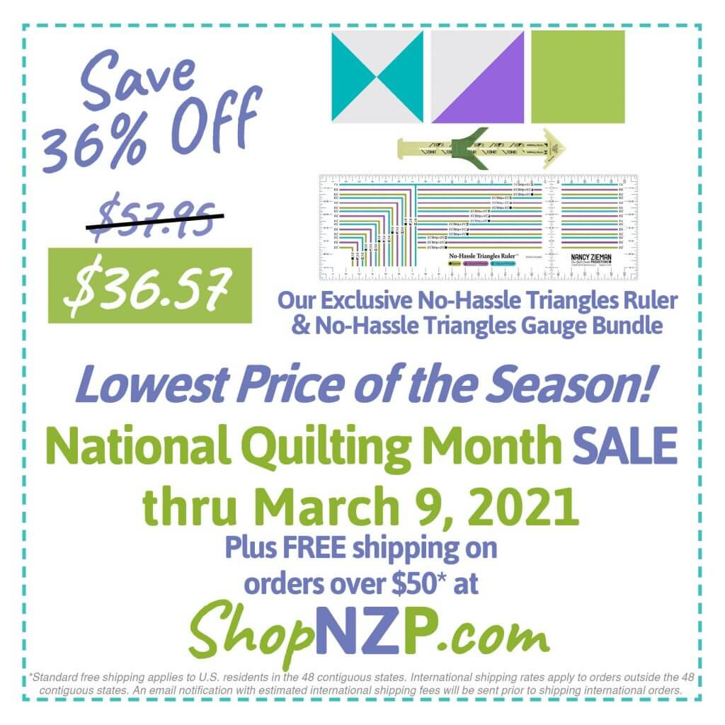 Save 36% Off No-Hassle Triangles Ruler & Gauge Bundle at Nancy Zieman Productions at ShopNZP.com thru March 9, 2021