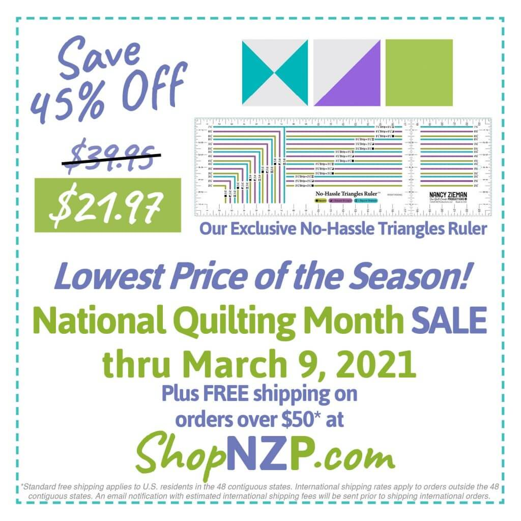 Save 45% Off No-Hassle Triangles Ruler at Nancy Zieman Productions at ShopNZP.com thru March 9, 2021