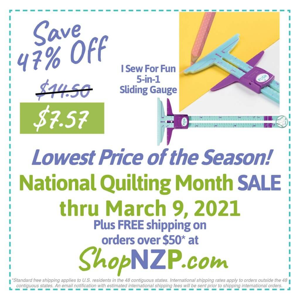 Save 47% Off I Sew For Fun 5-in-1 Sliding Gauge at ShopNZP.com thru March 9, 2021