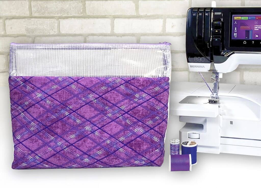 Serger Overlock Techniques Pouch Sewing Tutorial by Pam Mahshie from BERNINA at The Nancy Zieman Productions Blog as Seen on Stitch it! Sisters Sewing Project Bundle Box available at Nancy Zieman Productions at ShopNZP.com