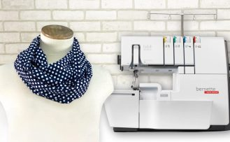 Twist it Loop Scarf Sewing Tutorial by the Stitch it Sisters at The Nancy Zieman Productions Blog Featuring bernette b64 scaled