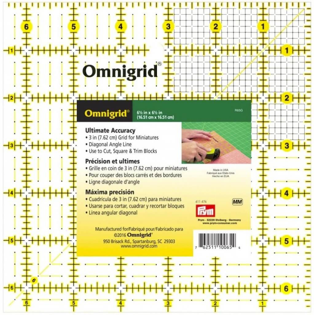 """Omnigrid 6-1/2"""" x 6-1/2"""" Square Rotary Cutter Ruler available at Nancy Zieman Productions ShopNZP.com"""