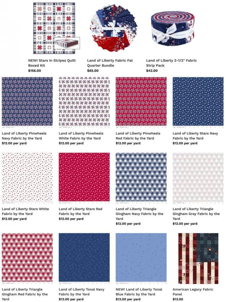 Land of Liberty Fabrics Available at Nancy Zieman Productions ShopNZP.com