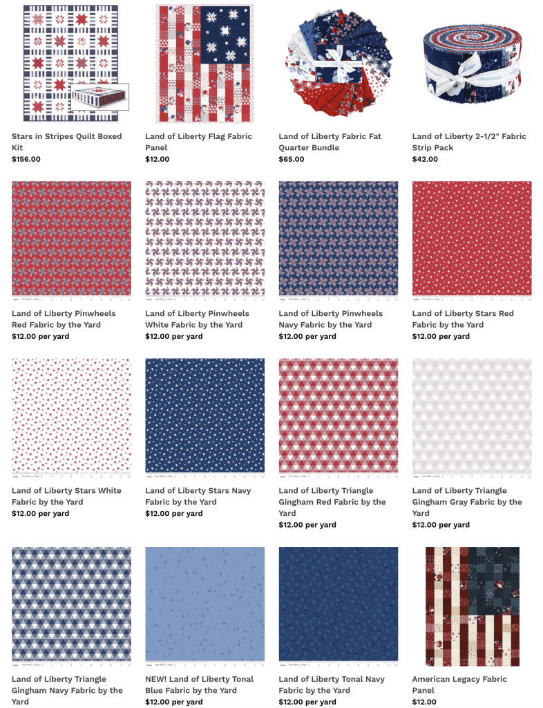 NEW Land of Liberty Fabrics, Fabric Precuts, Fabric Flag Panel, and Quilt Sewing Kit now available at Nancy Zieman Productions at ShopNZP.com